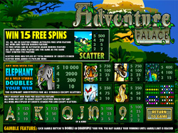 Adventure Palace Slot Payscreen