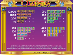 Cleopatra Slot Payscreen