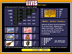 Elvis Slot Payout Screen